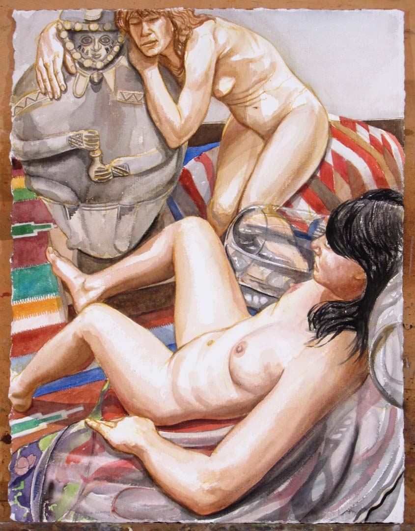 "2011 Two Models with Peruvian Medicine Man (Study 1) Watercolor on Paper 30"" x 22.75"""