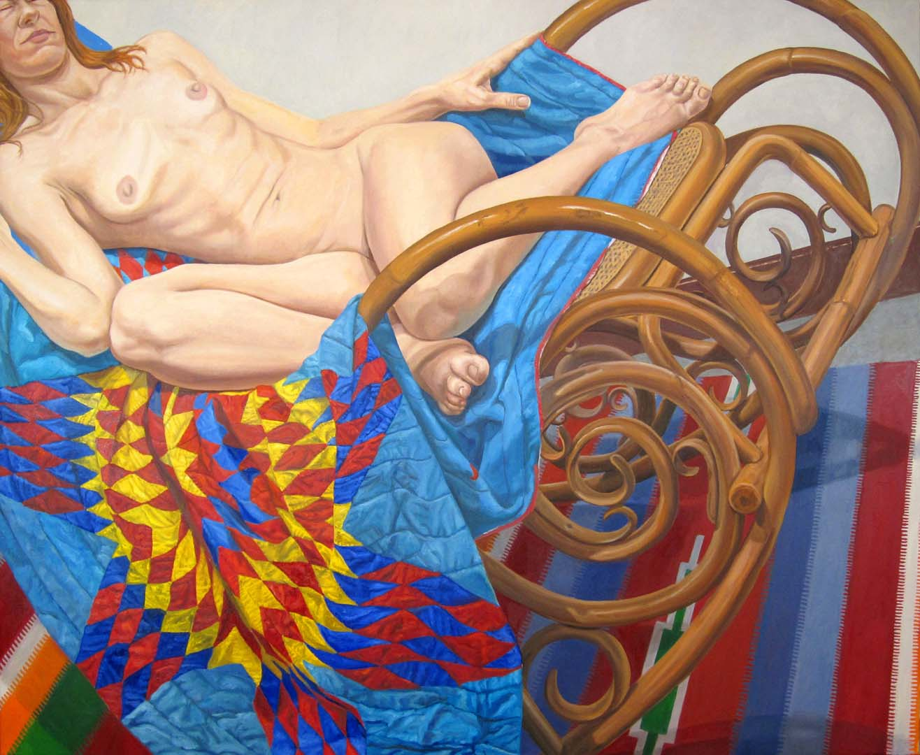 "2012 Model on Bentwood Rocker and Americana Quilt Oil on Canvas 48"" x 60"""