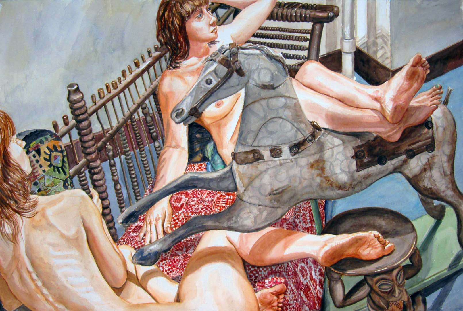 "2012 Two Models on Folk Art Settee with Rocking Horse Watercolor on Paper 40"" x 60"""