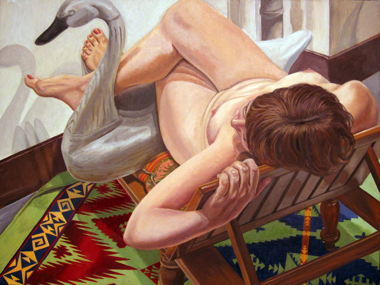 "2013 Model on Wooden Lounge with Swan Oil on Canvas 30"" x 40"""