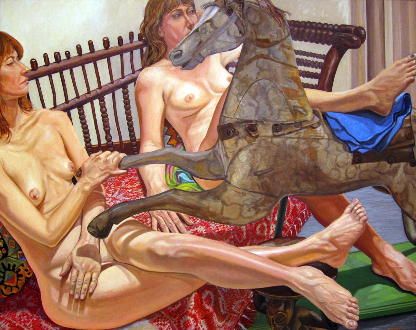 "2013 Models on Folk Art Sofa with Hobby Horse Oil on Canvas 48"" x 60"""