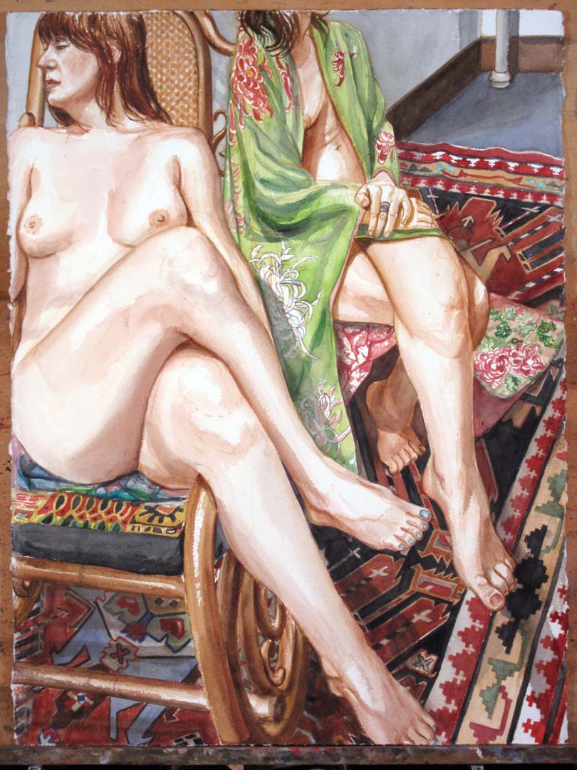 "2013 Two Models on Caucasian Rug Watercolor on Paper 30"" x 22.75"""