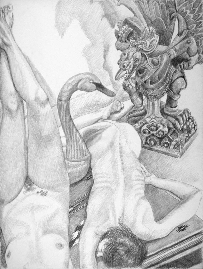 "2013 Two Models with Swan Decoy and Carved Garuda Figure Pencil 40"" x 30"""