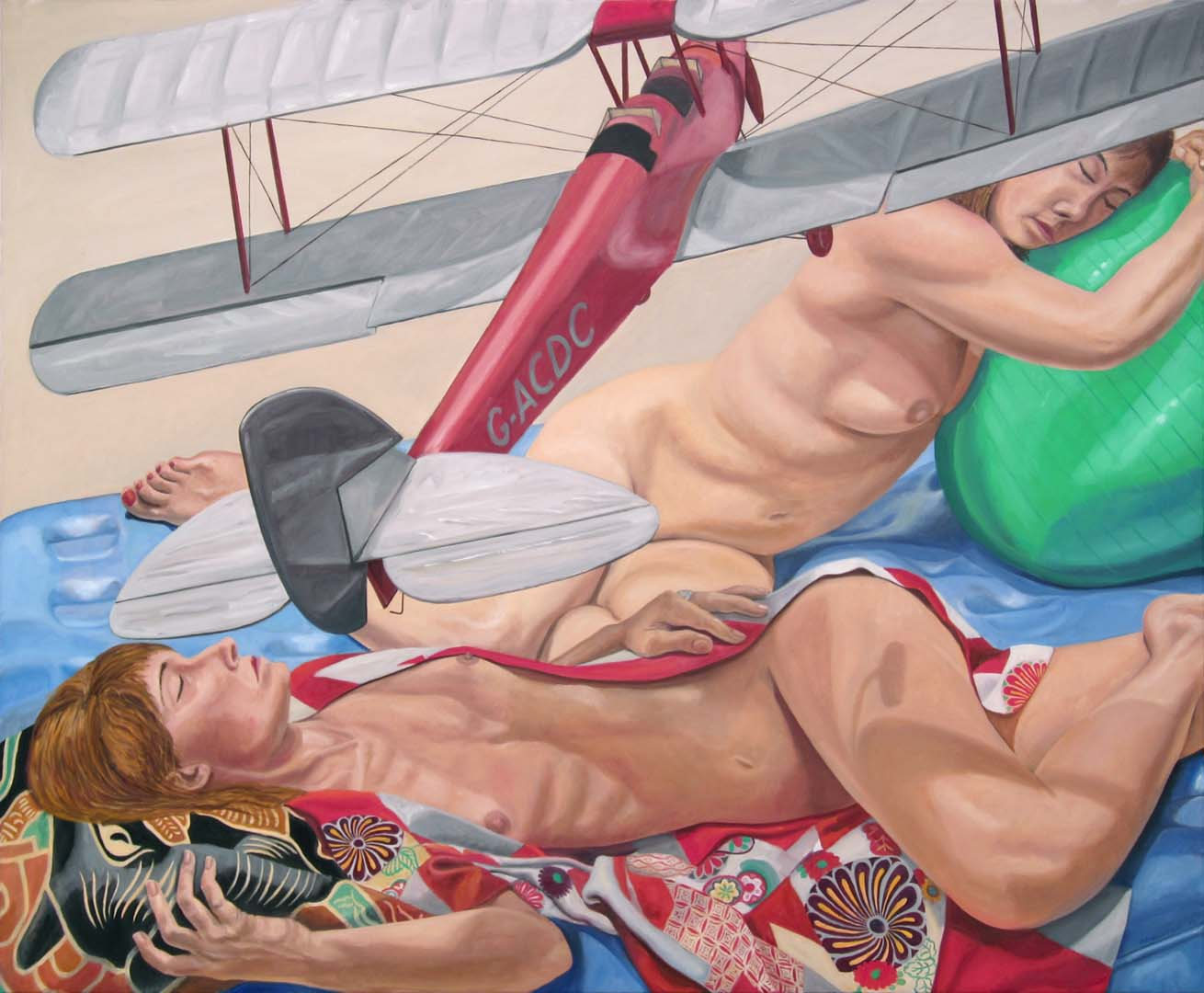 "2014 Models Lying Down with Model Biplane and Exercise Ball Oil on Canvas 48"" x 60"""