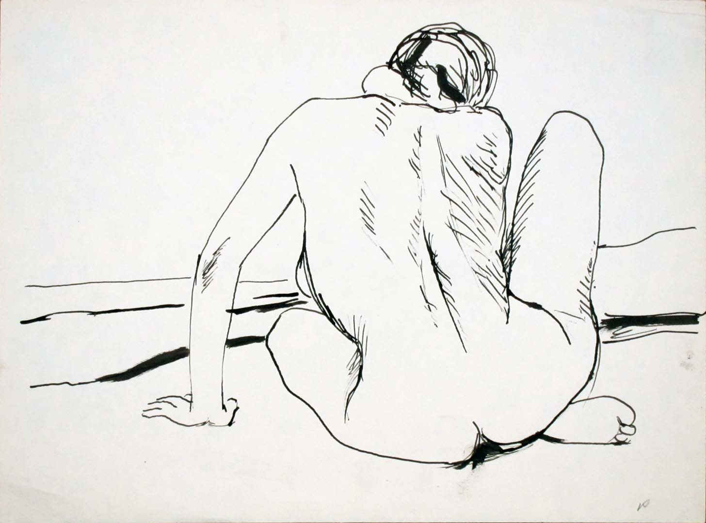 """Back of Female Nude with Right Leg Raised Ink 9"""" x 12"""""""
