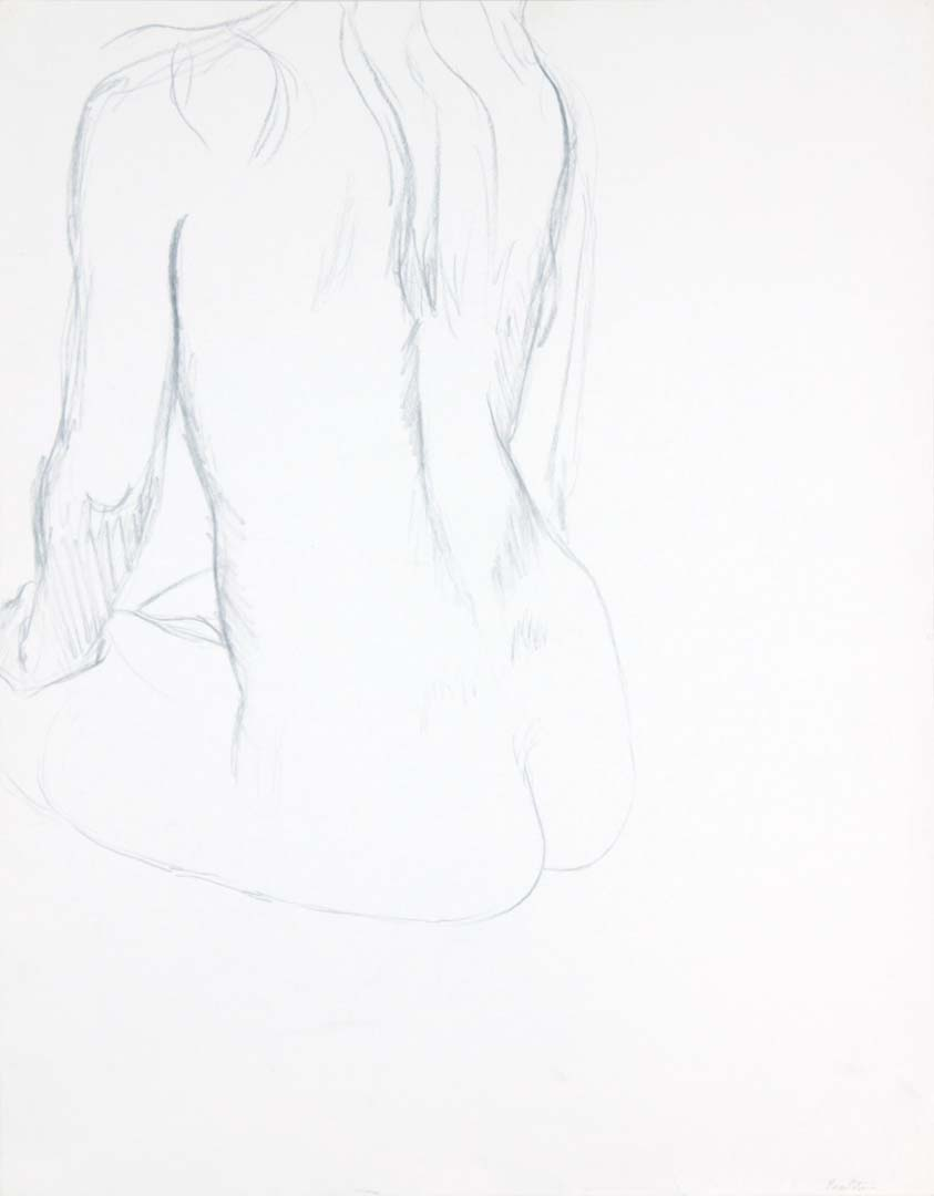 Back of Seated Female Model Graphite 23.875 x 18.75