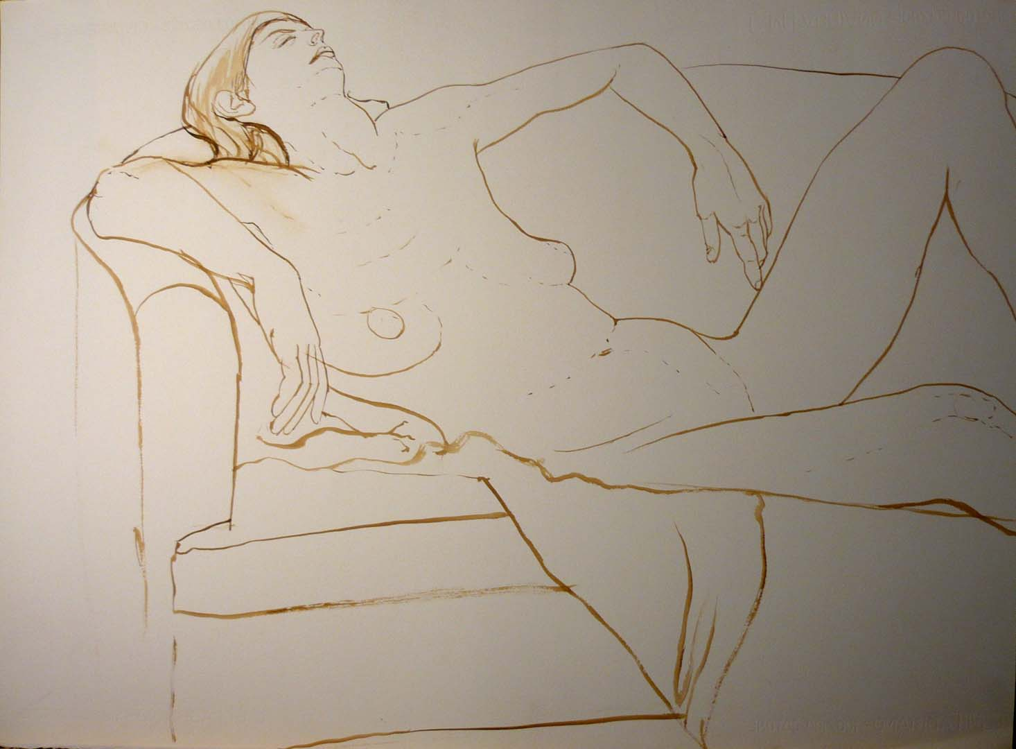 Female Leaning on Sofa Sepia 22.25 x 29.875