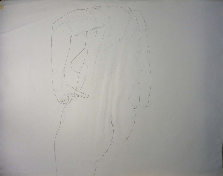 Female Model Back Pencil 27.875 x 29