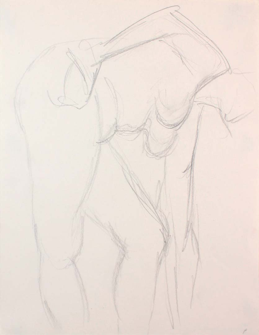 "Female Model Bending Over with Arm Outstretched Pencil 12"" x 9"""
