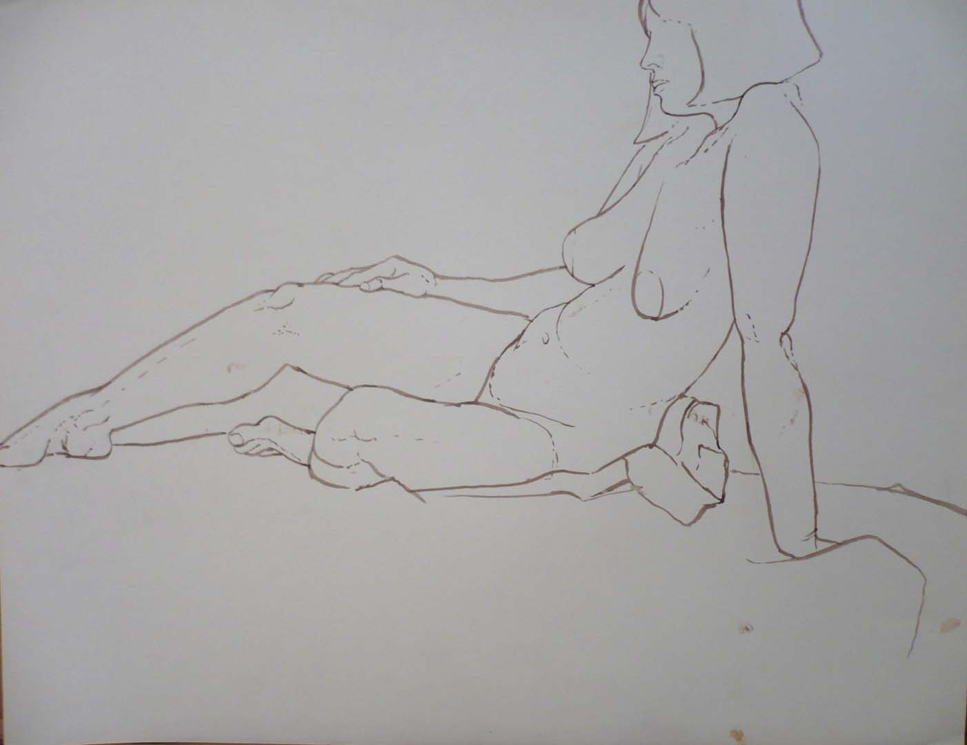 Female Model Leaning Sepia 19.875 x 25.75