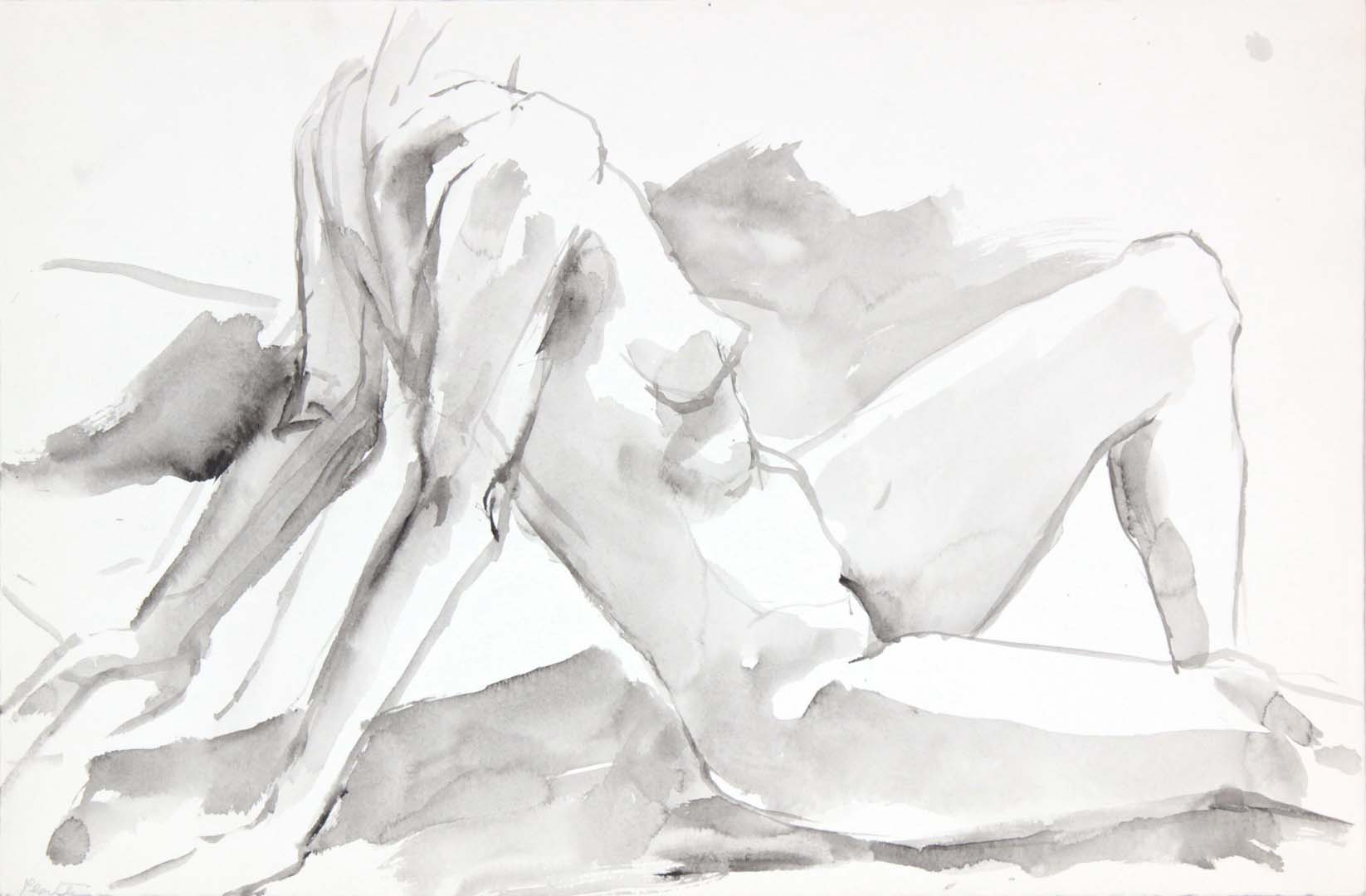"Female Model Leaning Back Wash 13.625"" x 20.75"""
