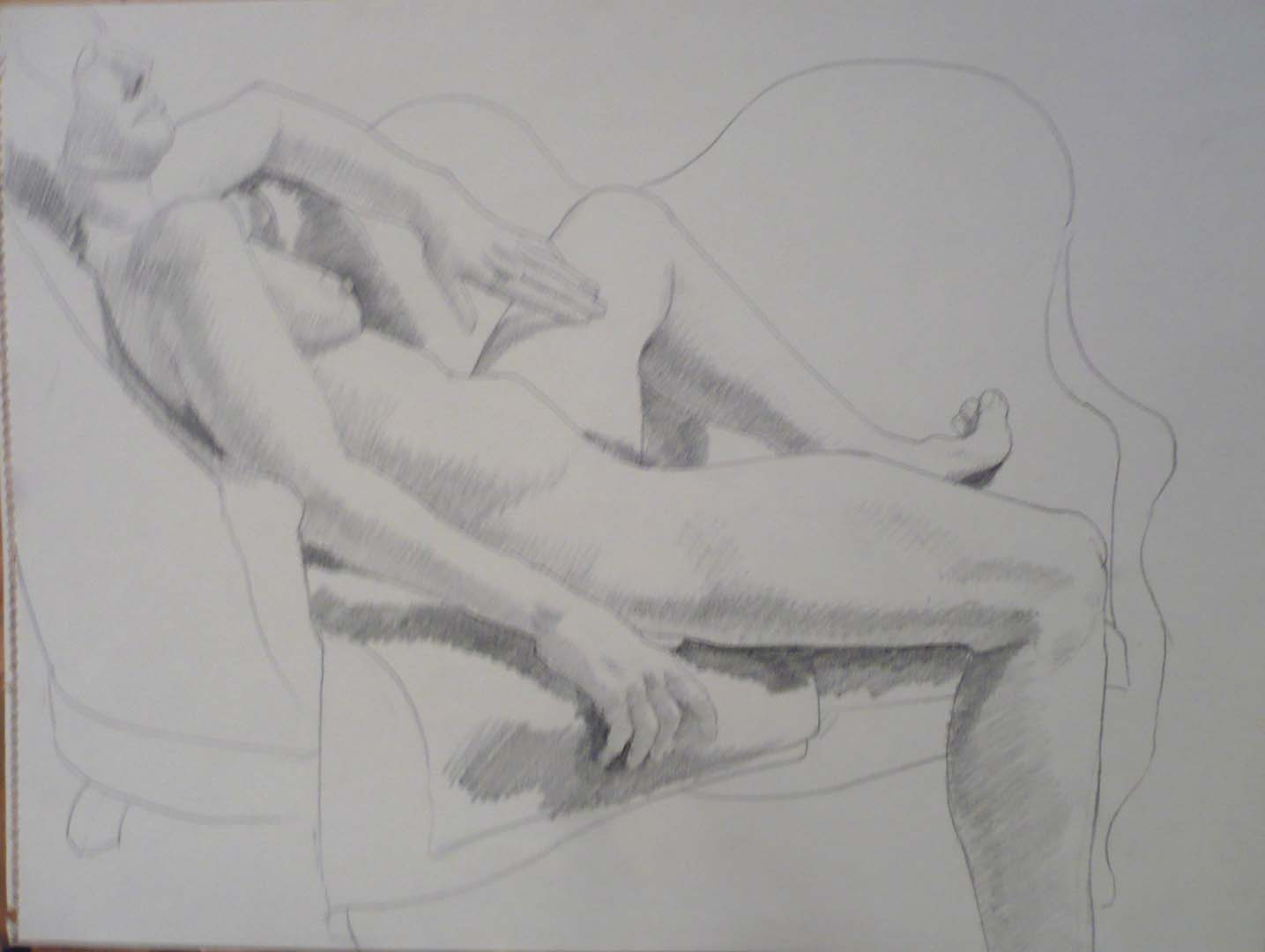 "Female Model Reclining on Sofa Pencil 17.875"" x 23.625"""