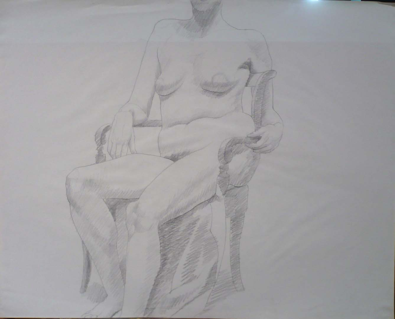 "Female Model Seated in Chair Pencil 23"" x 29"""