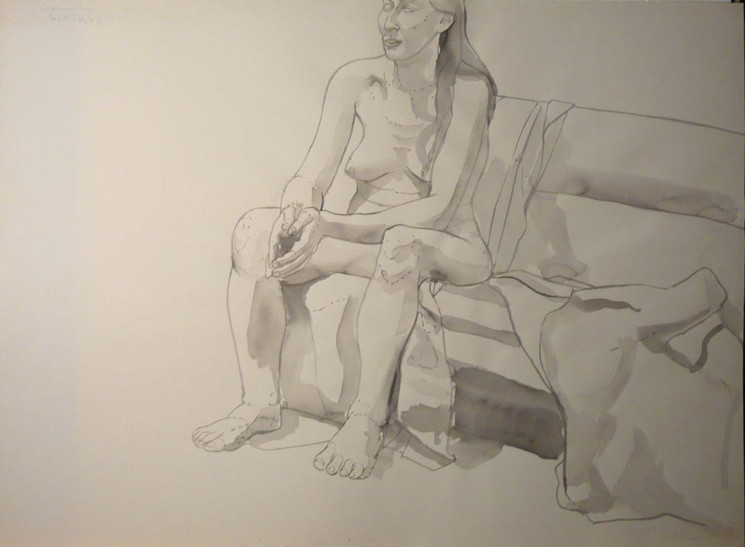 Female Model Seated on Sofa Black Wash 22 x 29.875