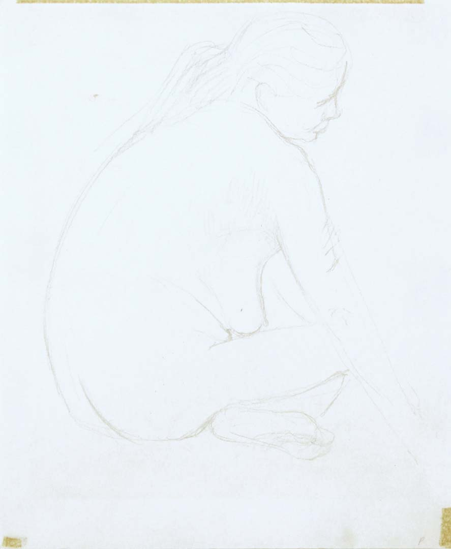 "Female Model Seating with Legs Crossed Pencil 11.125"" x 9"""