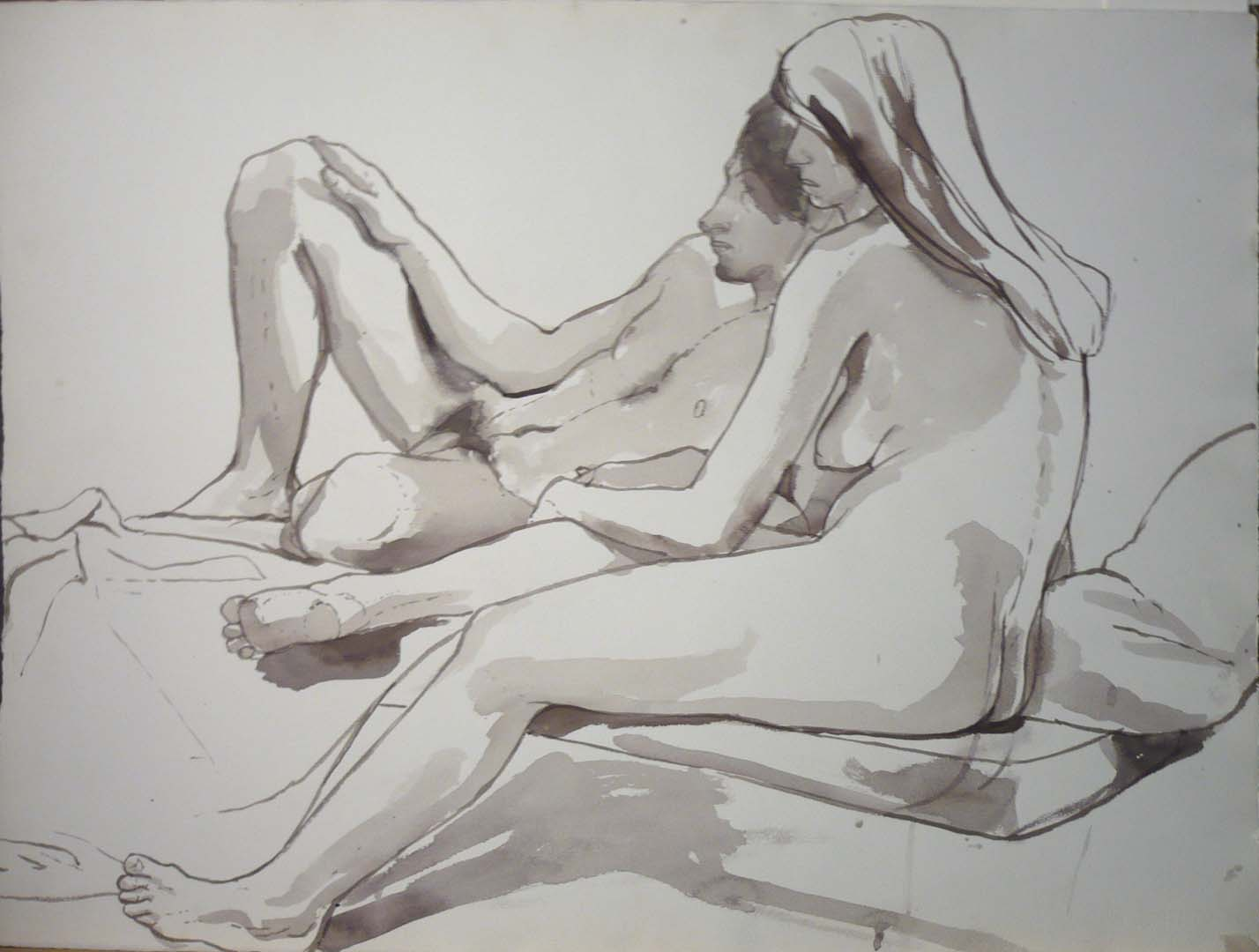 "Female Model Sitting in Front of Male Model Black Wash 22.25"" x 30"""