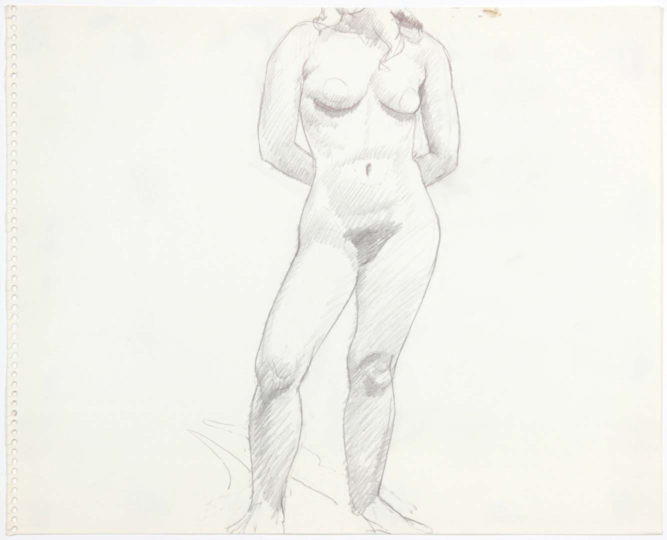 "Female Model Standing in Studio Pencil 13.75"" x 16.875"""