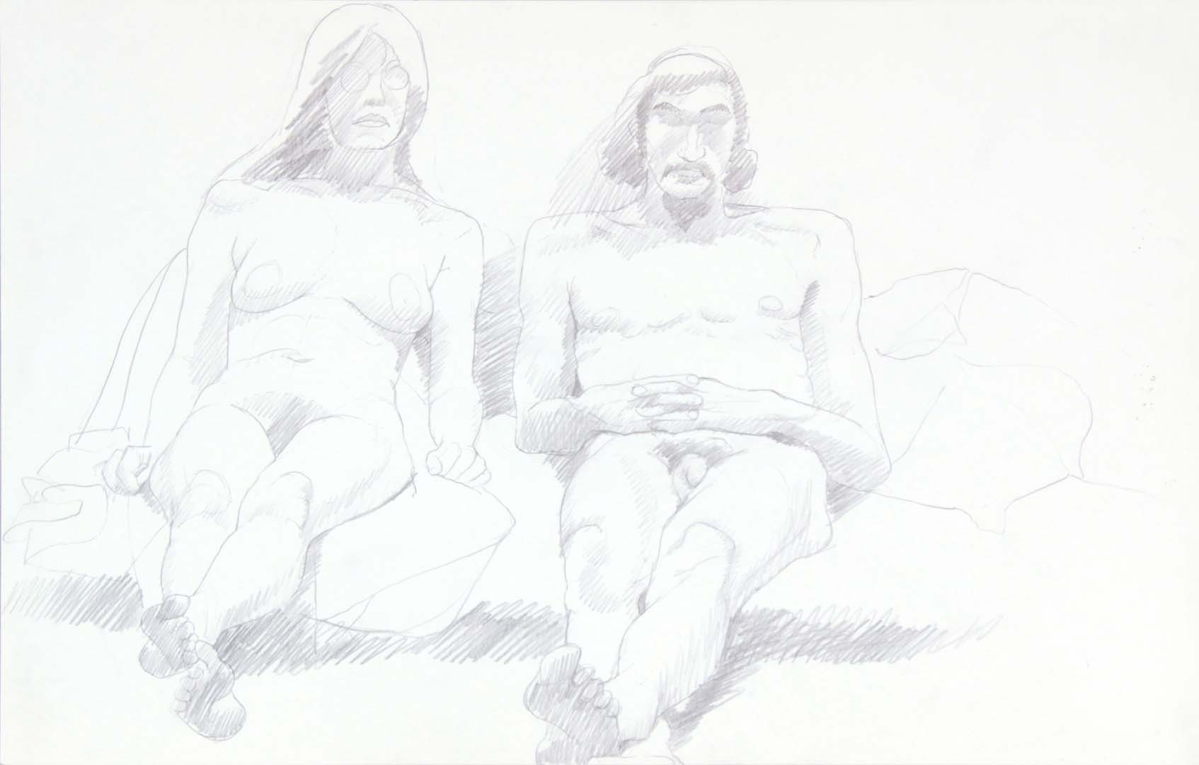 "Female Model Wearing Glasses and Male Model Graphite 14"" x 22"""