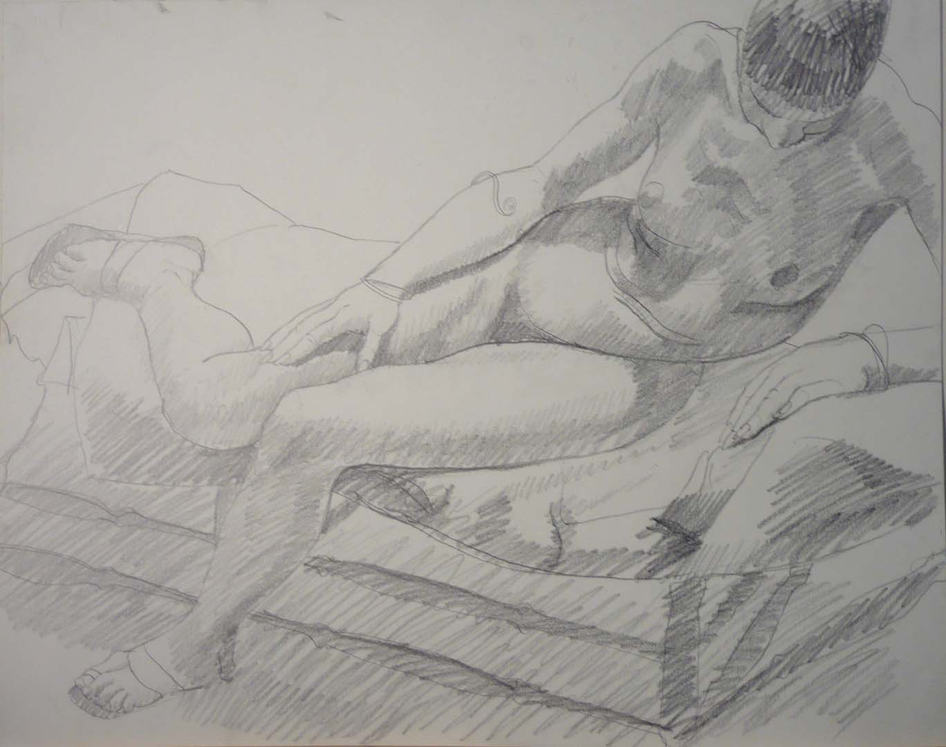 "Female Model Wearing Sandals Pencil 18.875"" x 24"""
