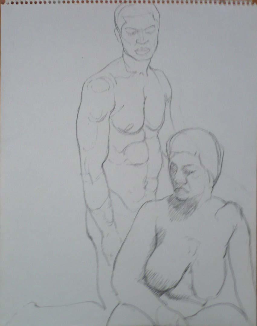 """Female Model in Front of Kneeling Male Model Pencil 14"""" x 11"""""""