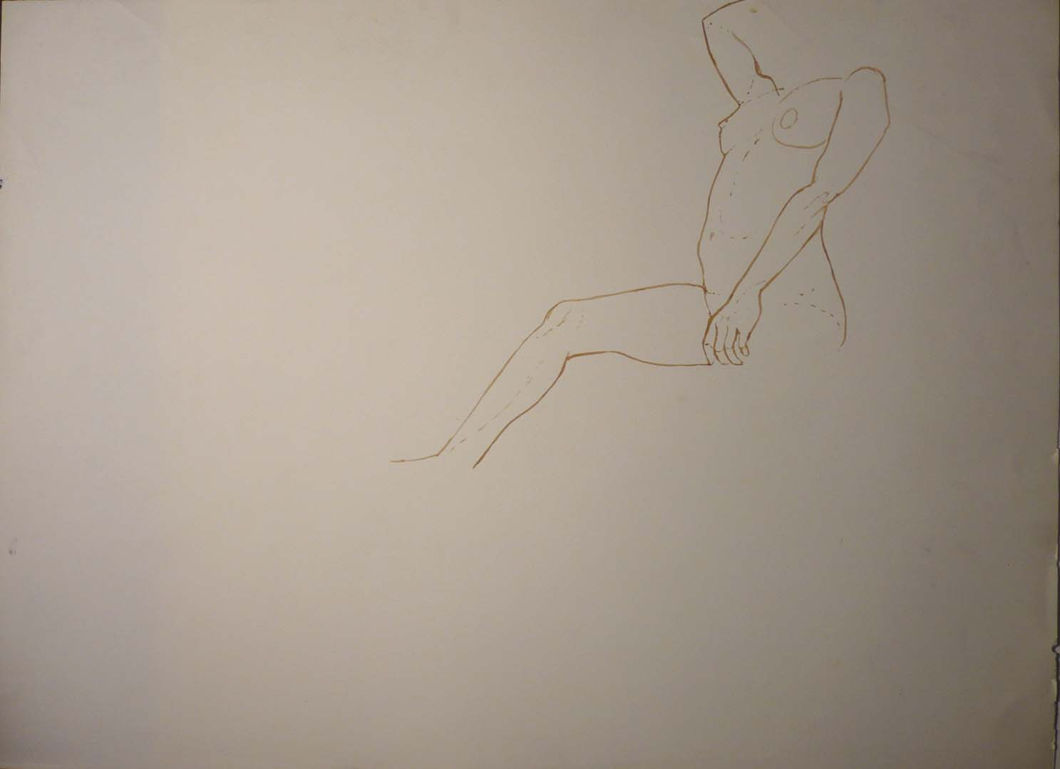"Female Model in Studio (Partial) Sepia 22.25"" x 29.875"""