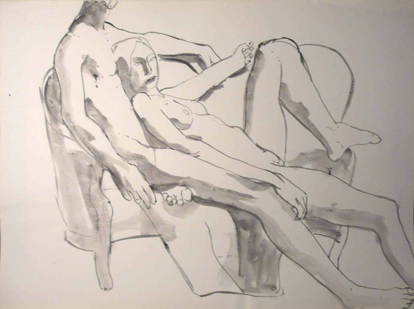 "Female Model on Male Model Black Wash 22"" x 29.875"""