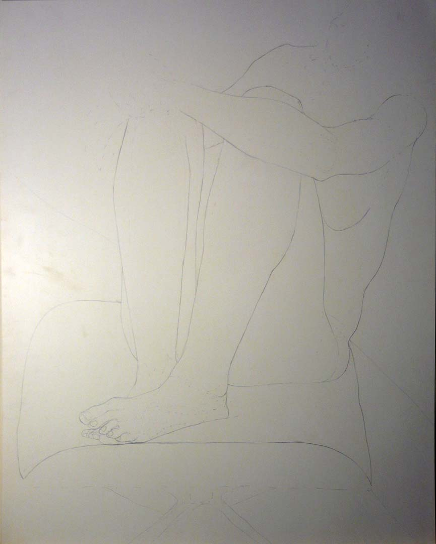 Female Model with Legs Bent Pencil 28.5 x 22.5