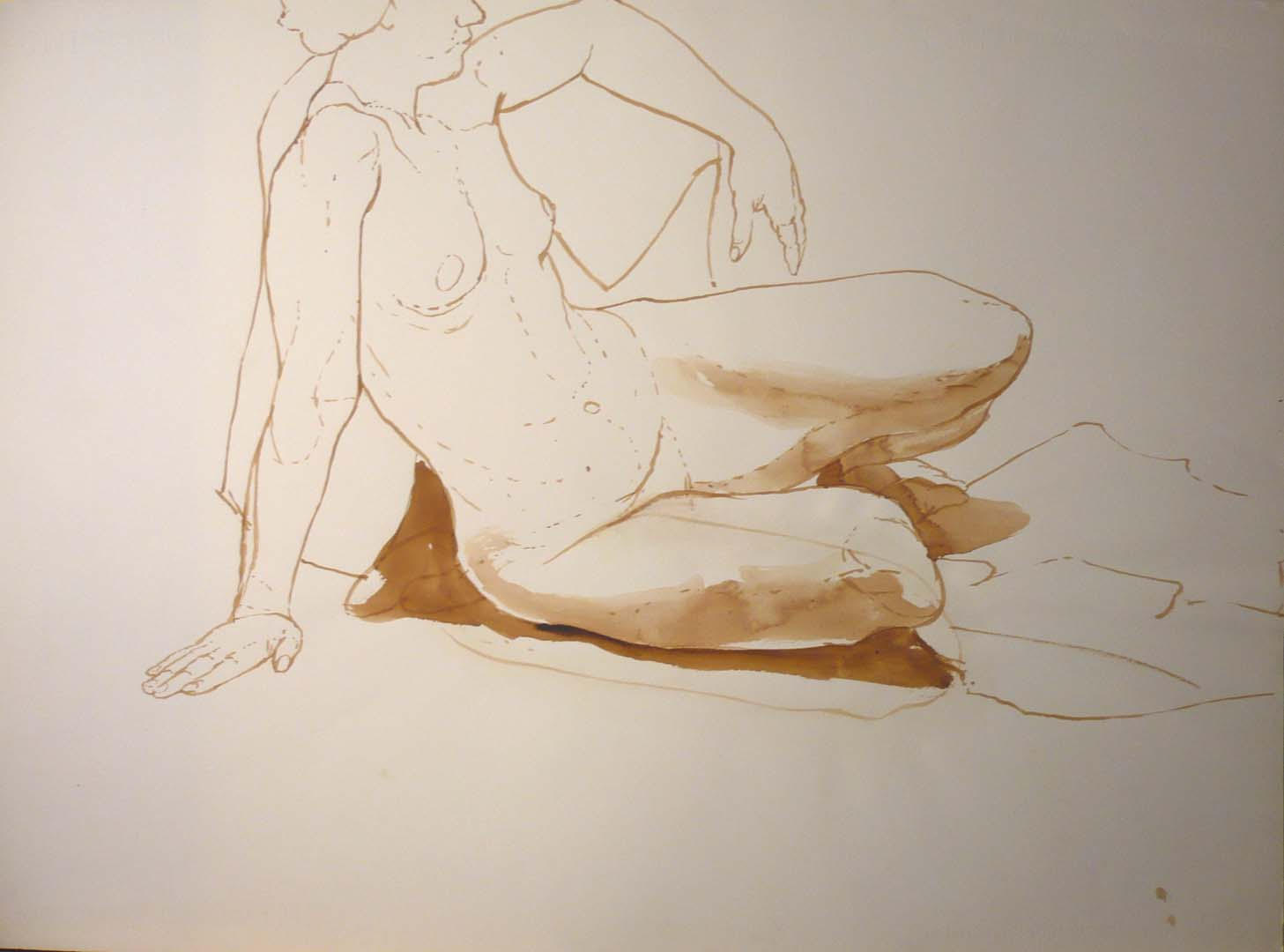 "Female Nude Leaning Back Sepia 22"" x 19.875"""