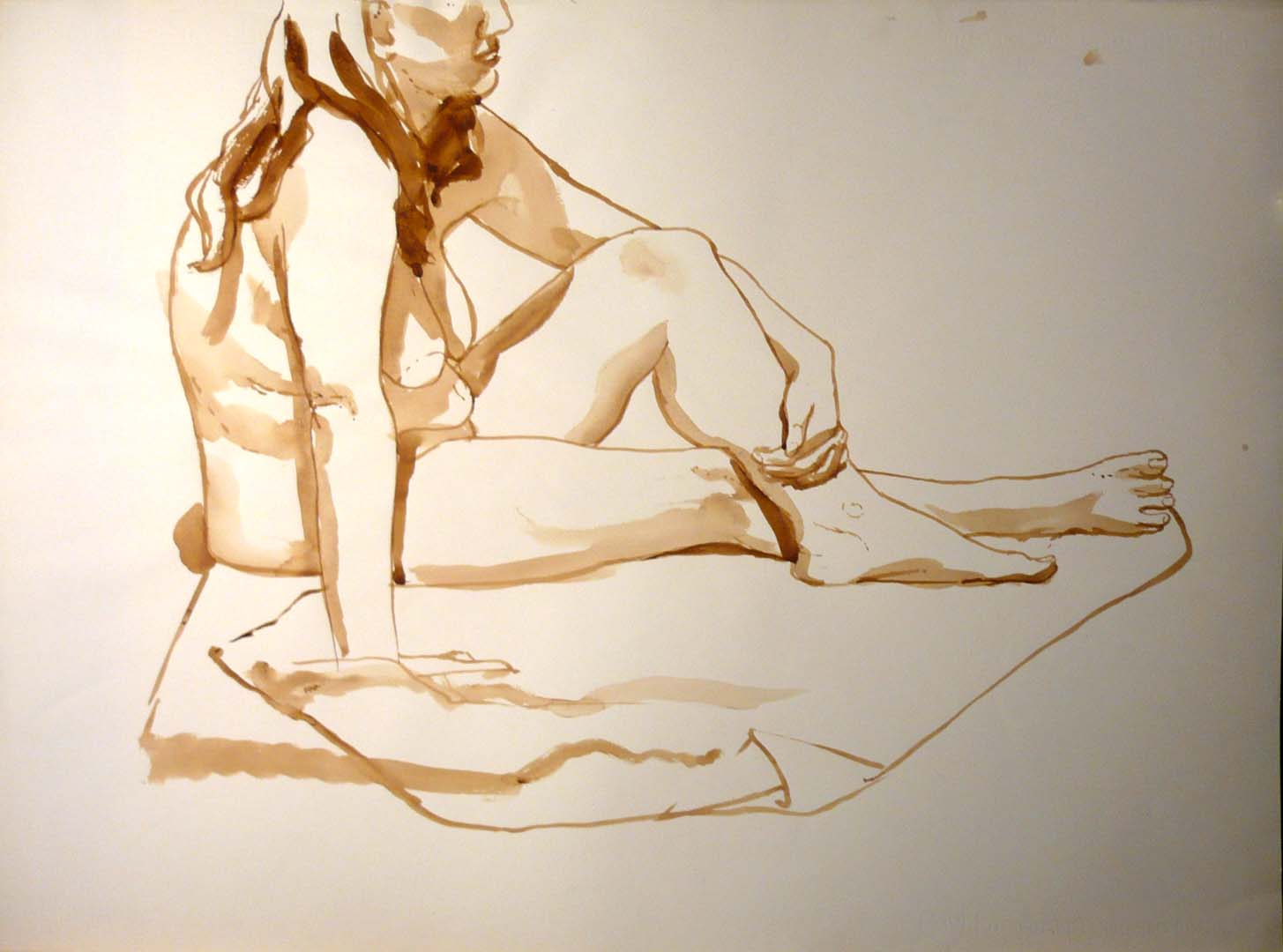 "Female Seated on Drape Sepia 22"" x 29.875"""