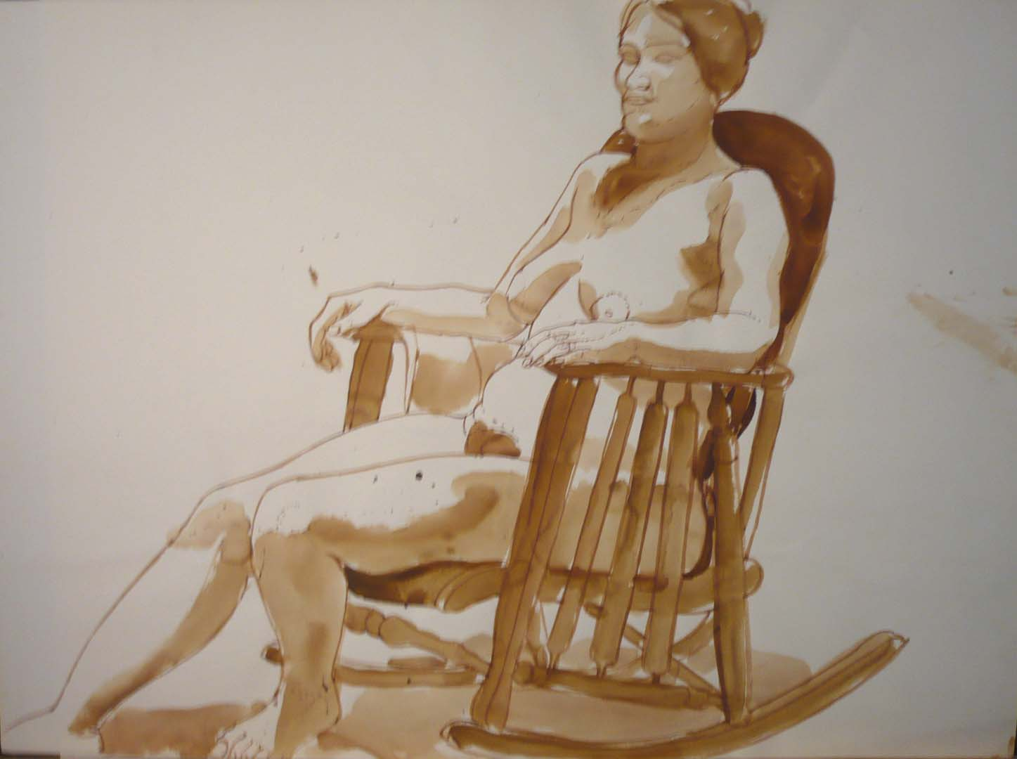 "Female Seated on Rocking Chair Sepia 22"" x 29.875"""