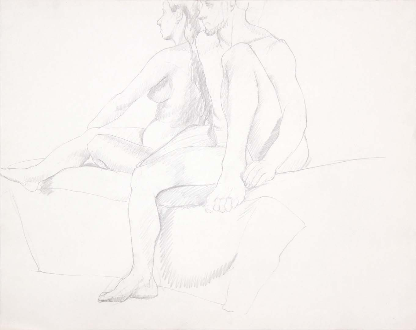 "Female and Male Nudes Seated Together Graphite 22.625"" x 28.5"""