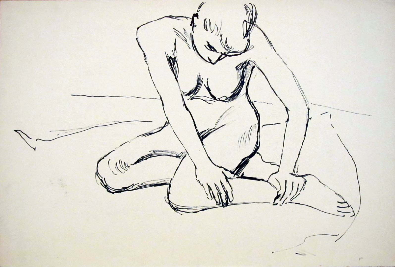 "Kneeling Female Model Ink 12.125"" x 17.875"""