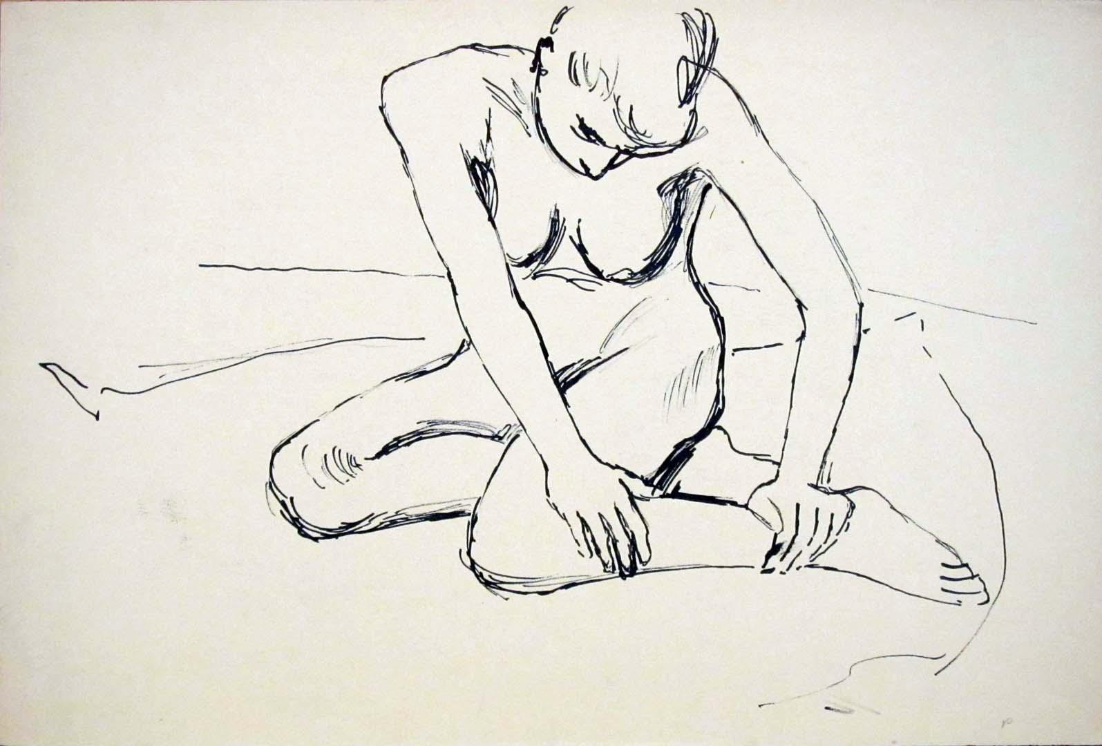 "Kneeling Female Model Ink 12.125"" x 17.875"""