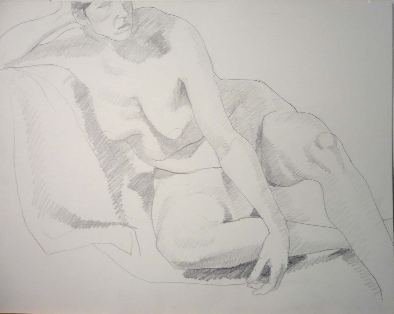 "Leaning Female Model Pencil 18.75"" x 24"""