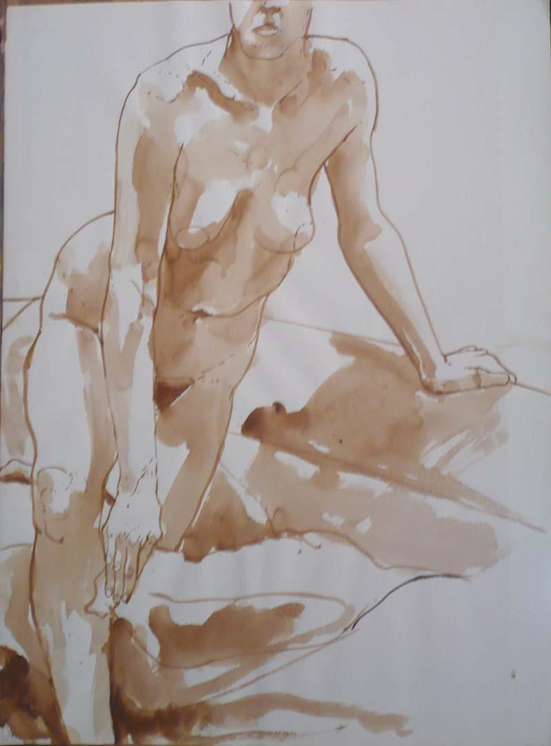 "Leaning Female Nude Sepia 29.875"" x 22"""