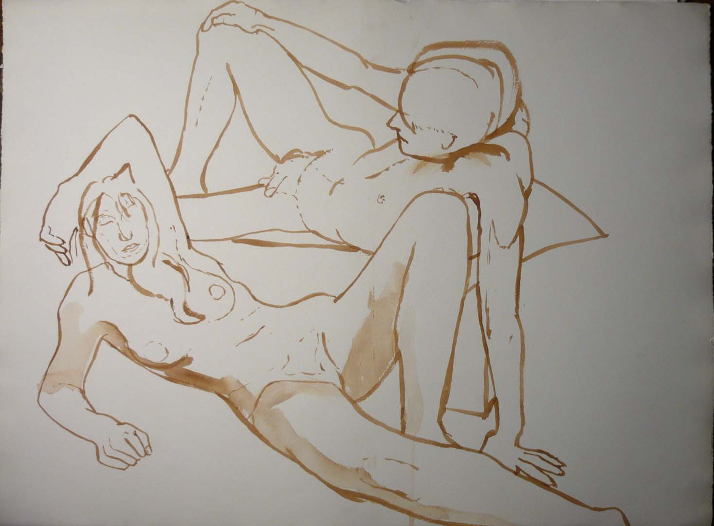 "Leaning Female and Male Nudes Sepia 22.25"" x 29.875."""