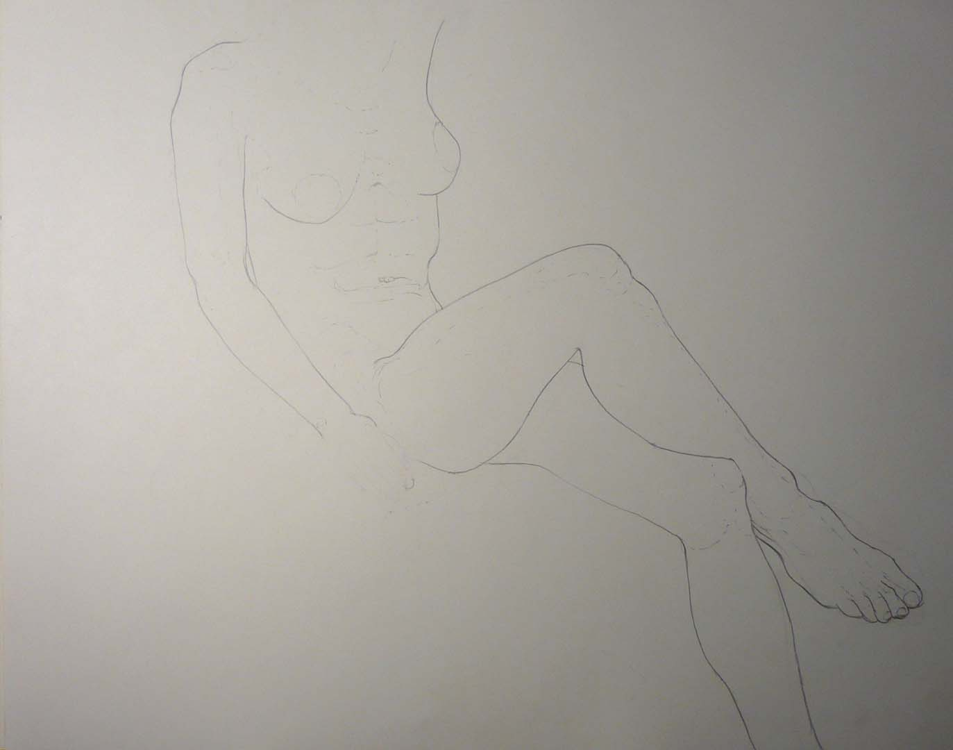 "Leaning Female with Legs Crossed Pencil 18.875"" x 23.875"""