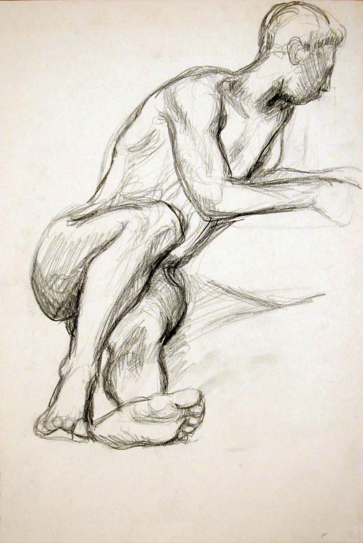 "Leaning Male Nude Charcoal 17.875"" x 12"""