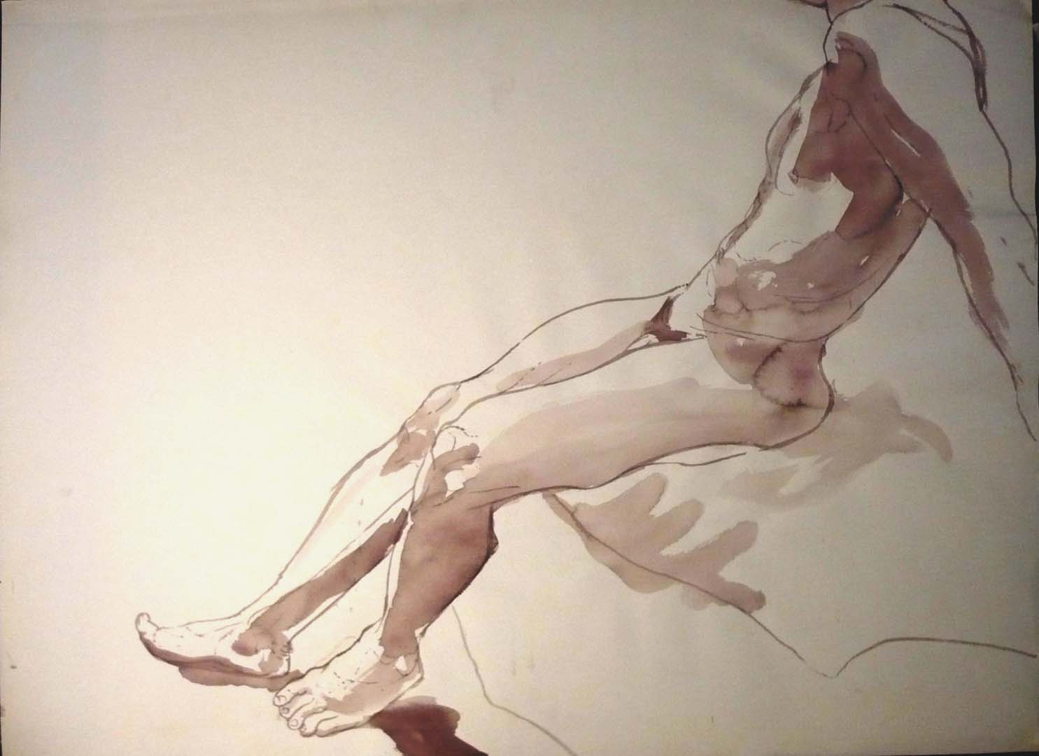 """Leaning Male Nude Sepia 22"""" x 29.875"""""""
