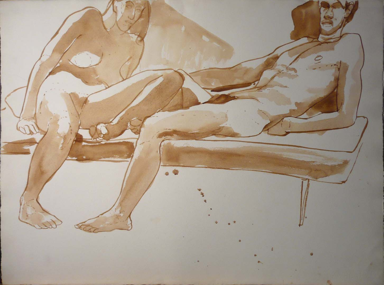 "Leaning Male and Female Model in Bench Sepia 22.25"" x 30"""