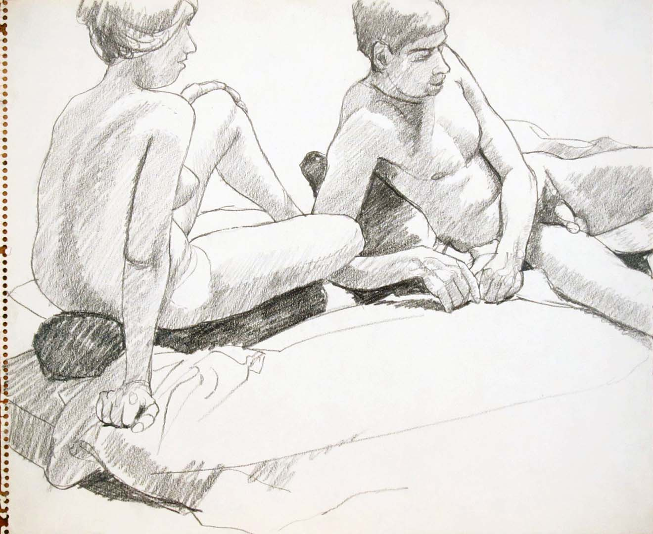 "Leaning Male and Female Models Pencil 14"" x 17"""