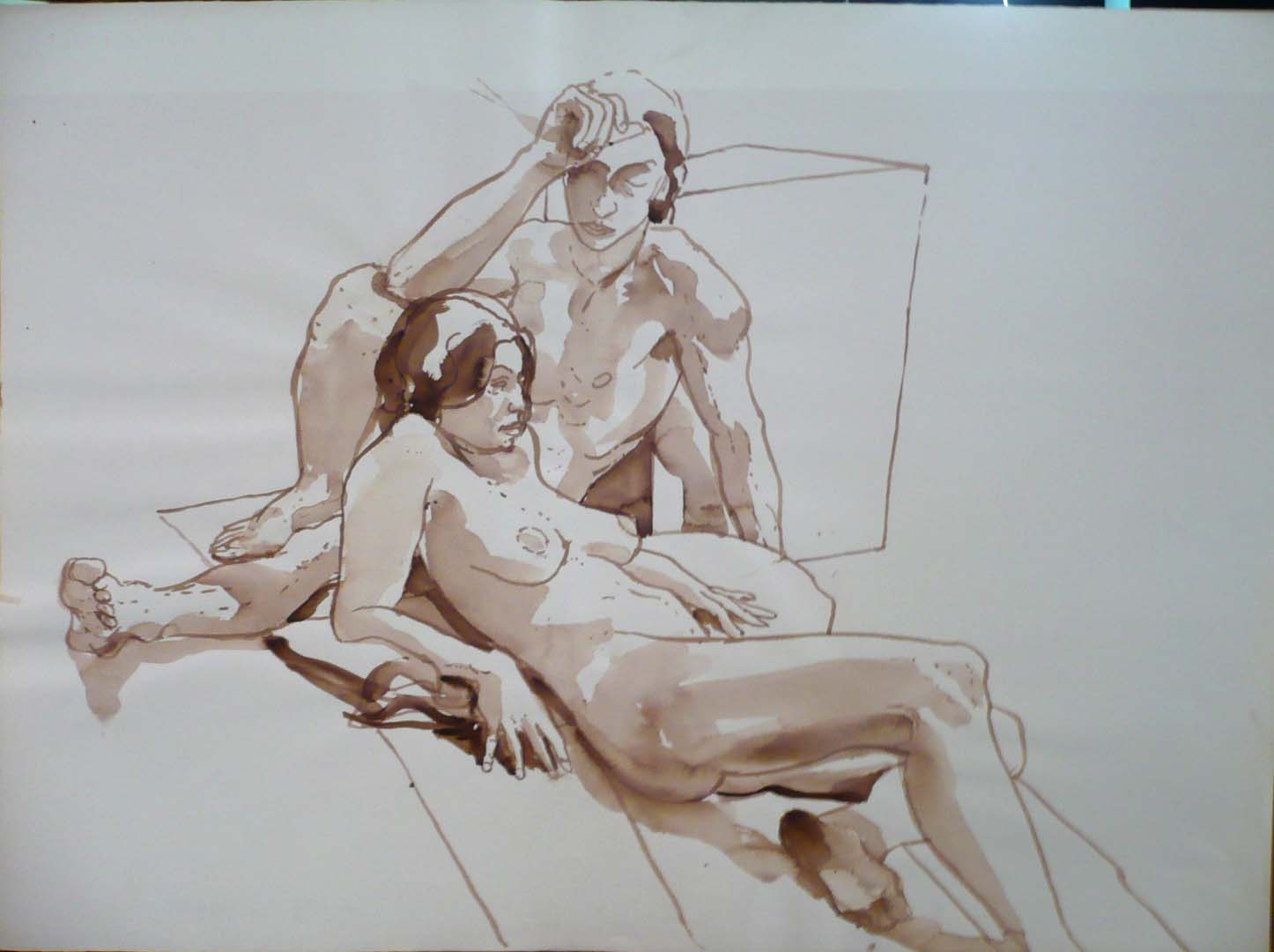"Leaning Male and Female Models Sepia 22.125"" x 29.875"""