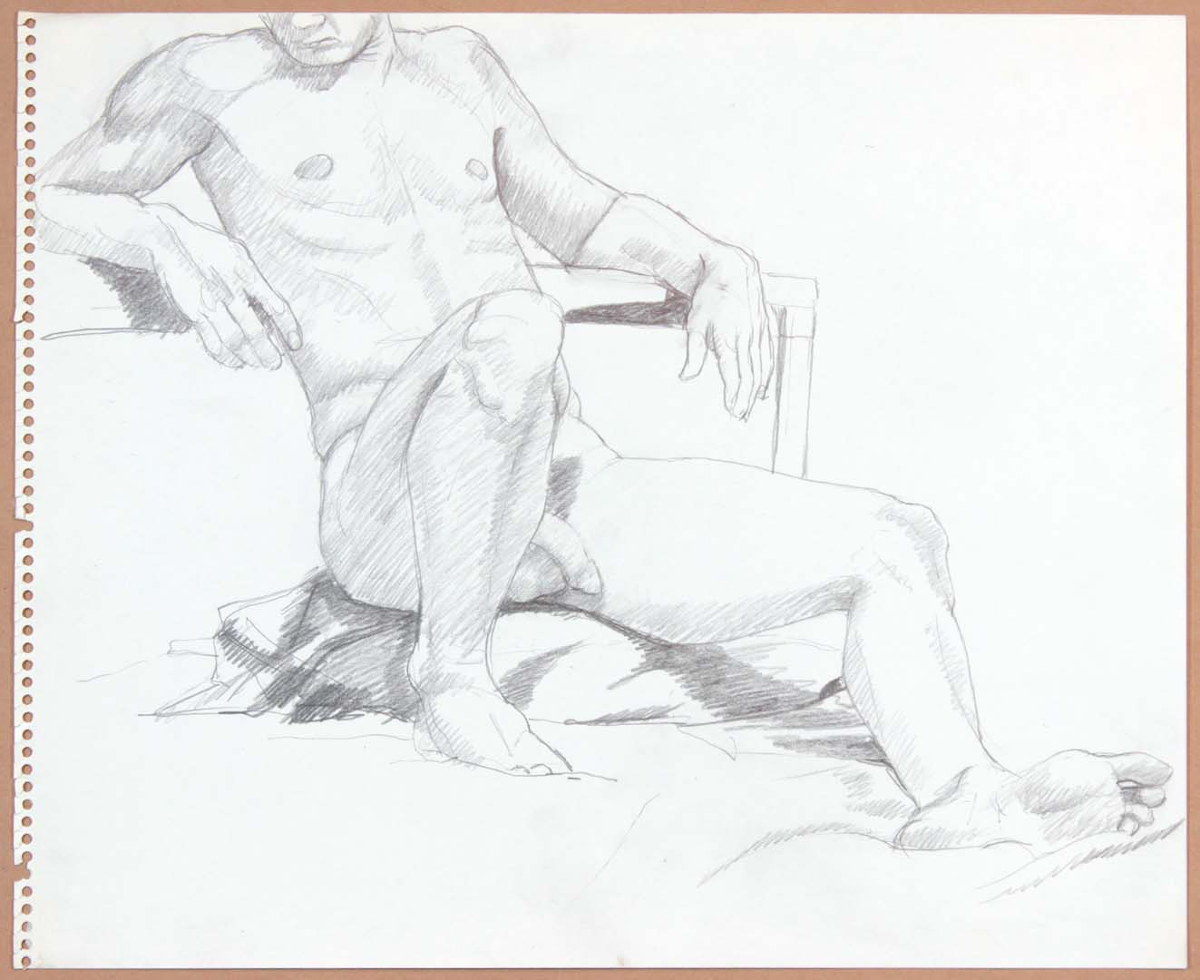 "Male Model Leaning Back with Leg Outstretched Pencil 17"" x 13.75"""
