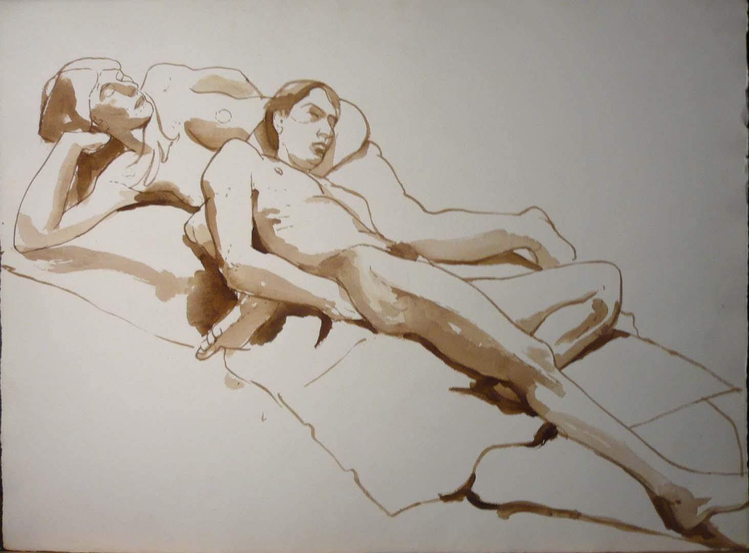 "Male Model Leaning on Female Sepia 22.125"" x 29.875"""
