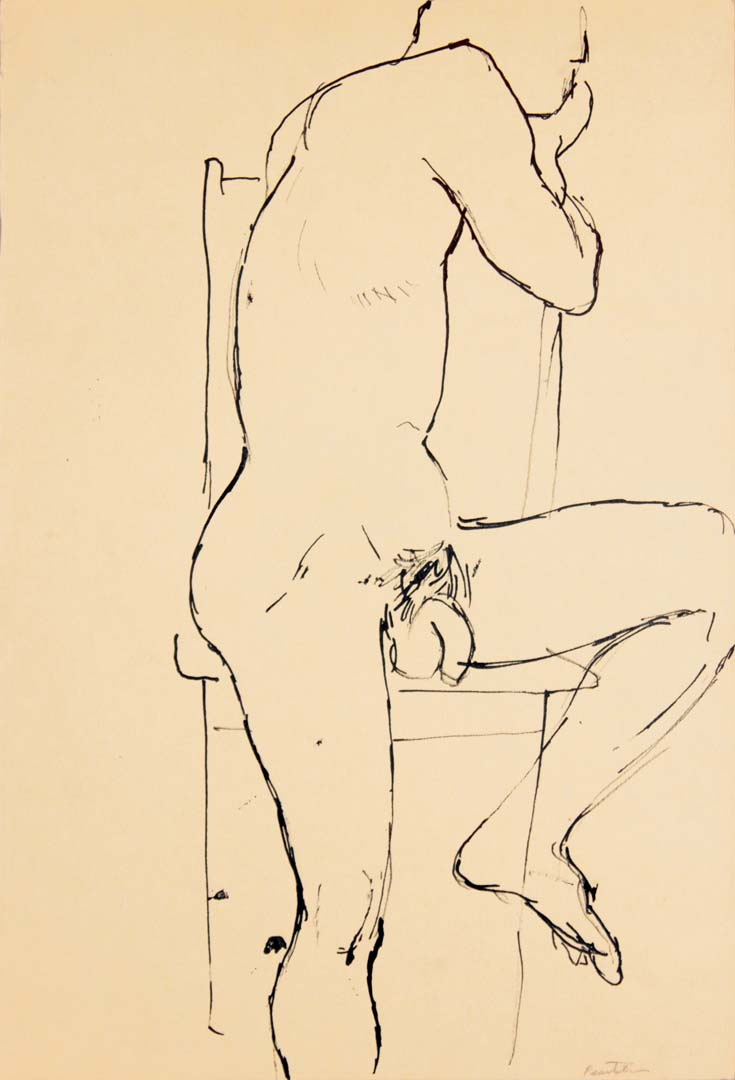 "Male Model Seated on Chair Ink 17.875"" x 12"""