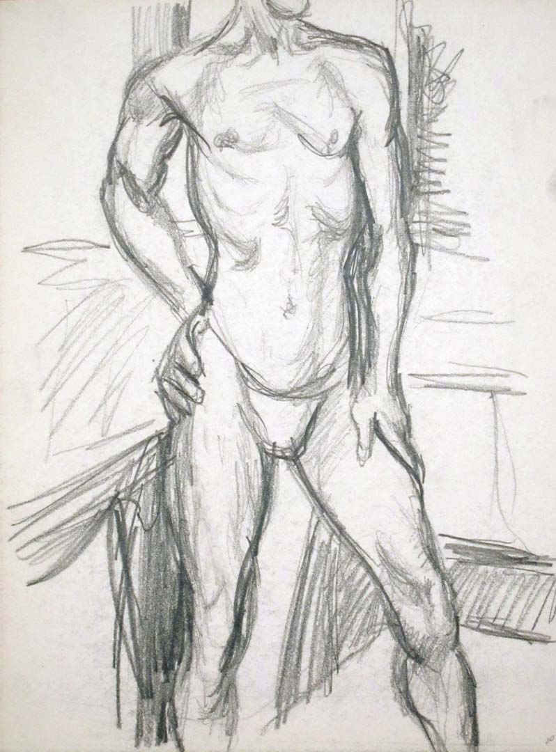 "Male Model Standing in Studio Pencil 13.875"" x 10.875"""
