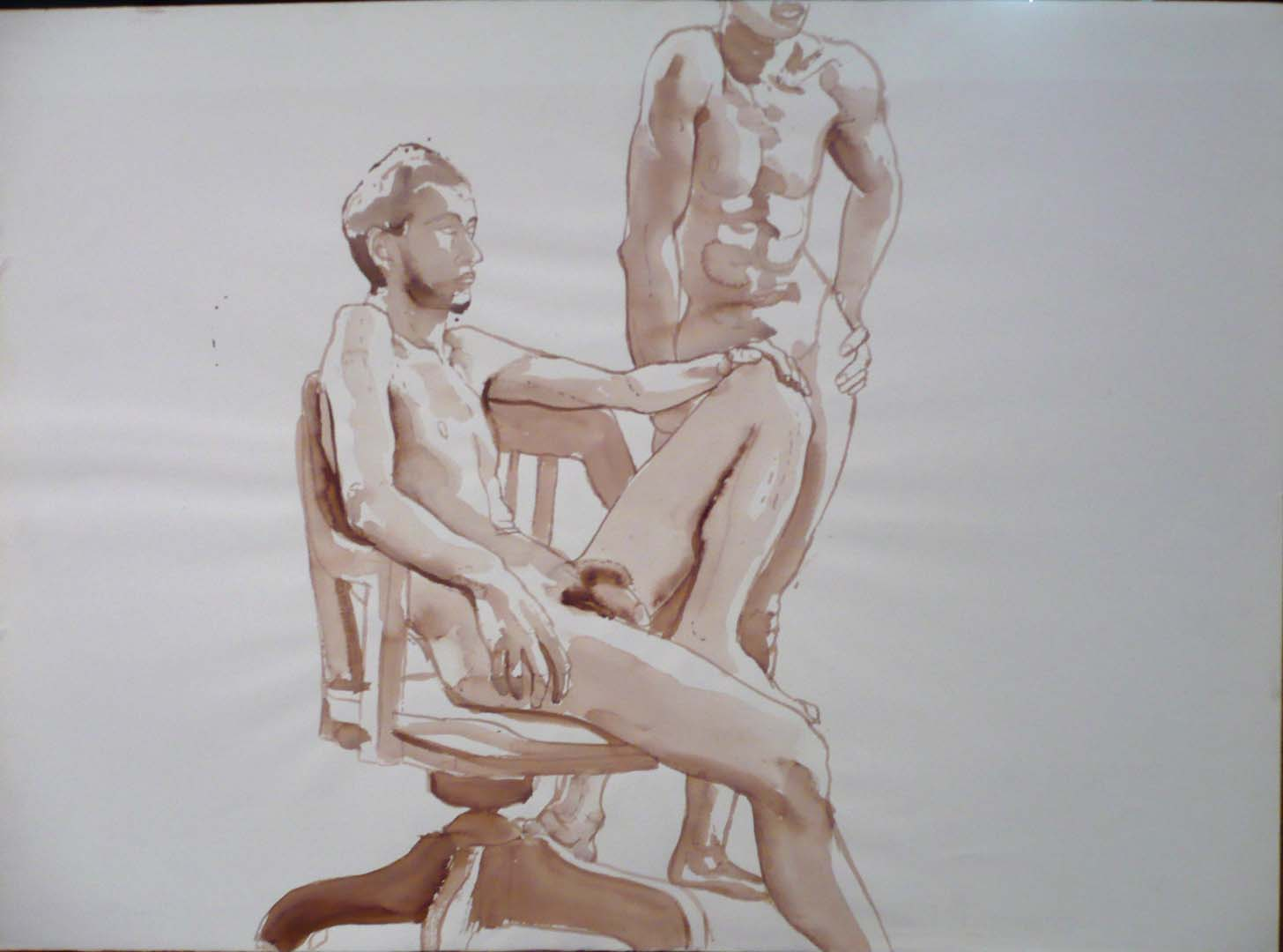 "Male Models with Swivel Chair Sepia 22"" x 30"""