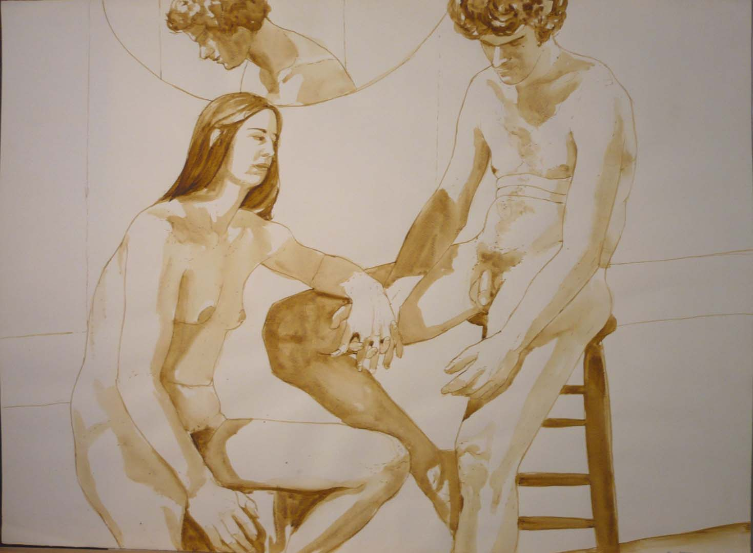 "Male and Female Models on Stools with Mirror Sepia 22"" x 29.875"""