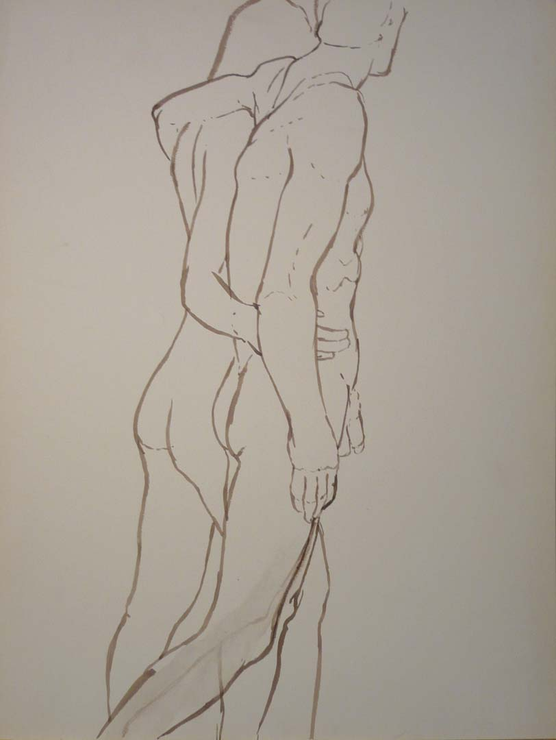 "Male and Female Models with Arms Around Each Other Sepia 22.875"" x 17.375"""
