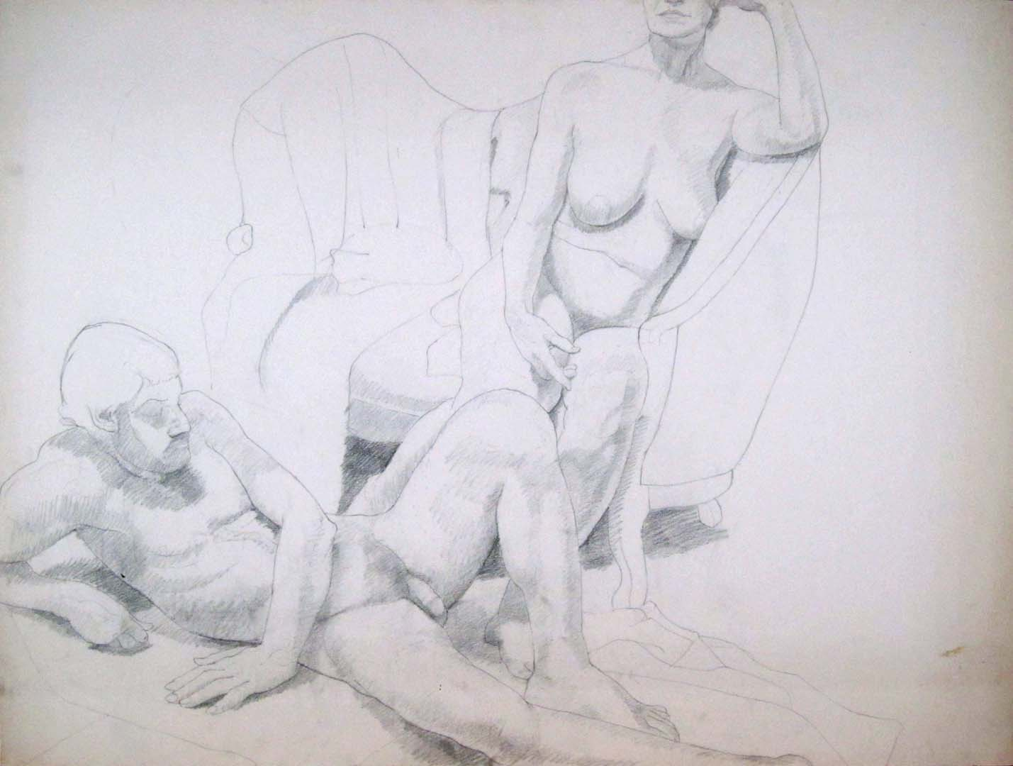 "Male and Female Models with Sofa Pencil 30"" x 40"""